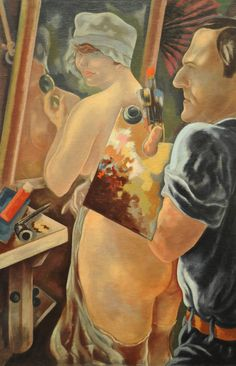 George Grosz, Self-Portrait with Model, 1928