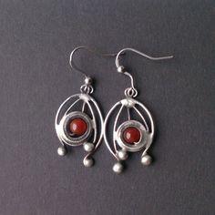 Metal Earrings with carnelian .  Earrings is hand made.Tiffany technique, Healing Stone, by Helenamode on Etsy