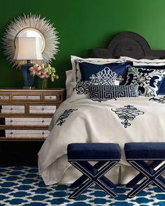 elegant navy-blue furnishings #linen bedspreads, decorative pillows, shams, duvets, coverlets, quilts, bedroom décor, home furnishings, #bedlinen
