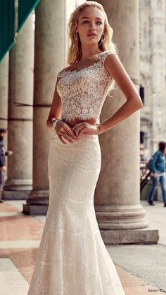 eddy k milano bridal 2017 cap sleeves lace bodice trumpet skirt two piece. For…