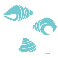 "- 3 shell stencils - measure 5""w x 3""h, 5.5""w x 3""h, and 3""w x 2.5""h - self-adhesive ocean wall stencil – stick and paint - individual stencils from the full-room Under the Sea Wall Mural Stencil Kit"