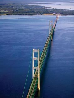 Mackinaw Bridge connecting lower Michigan to Michigan's Upper Peninsula Michigan Vacations, Michigan Travel, State Of Michigan, Northern Michigan, Lake Michigan, Detroit Michigan, Wisconsin, Places To Travel, Places To See