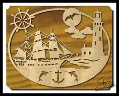Nautical Ship and Lighthouse Scroll Saw Pattern Wall Art by #SteveGood…