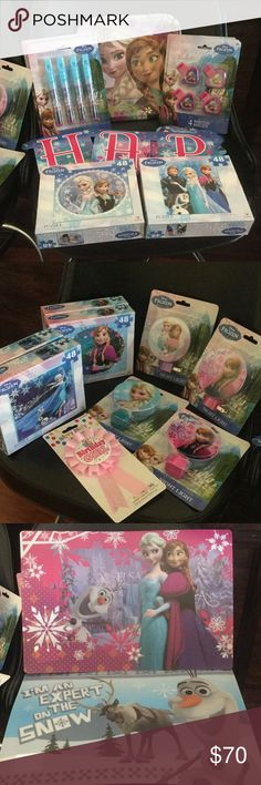 Frozen party supplies 10 frozen bags, 27 whistles, 6 puzzles, 8 plates, 1happy birthday banner, 3 roll on perfumes, 4 night lights, 1 birthday girl award ribbon, 8 crayons packs, 126 frozen stickers, 7 pencils, 8 bubbles and 10 place mats Accessories