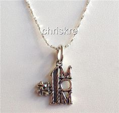 Silver #1 Mom Charm Pendant Necklace Sterling 925 Chain Mothers Day Gift USA #Pendant
