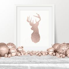 Christmas Wall Art, Deer Rose Gold Christmas Print, 8x10 Instant Download, Reindeer Printable Art, Holiday Decor, Holiday Poster by MintandCompany on Etsy https://www.etsy.com/listing/258552160/christmas-wall-art-deer-rose-gold