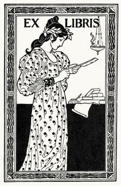 Bookplate project.  From A collection of book plate designs, by Louis Rhead, Boston, 1907.  (Source: archive.org)