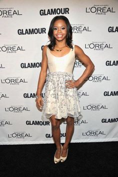Ivory was on the menu for Gabby Douglas, who worked a Tibi dress with a side of shimmer.