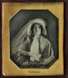 Ethereal 1840s Dag by Pioneer Photographer / Pretty Woman in Flowing Bonnet / Rare Sailboat Case