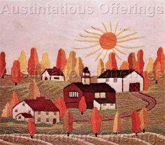 Image detail for -Gosz Primitive Autumn Sun Folk Art Farm Crewel Stitchery Kit