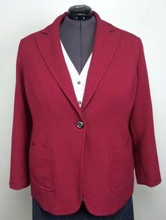 Coldwater Creek 20/22 Fuchsia Pink One Button Blazer Jacket Plus Size Pockets #ColdwaterCreek #BlazerJacket