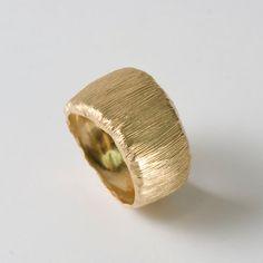 Fur, 14K Gold Unisex Wedding Ring, Gold Band, Wedding Band, Men' s Ring, Men's Gold Band. $750.00, via Etsy.