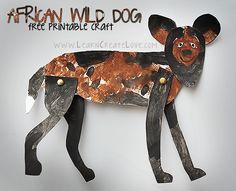 Endangered Animals Unit: African Wild Dog Printable Craft   LearnCreateLove.com