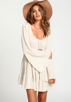 Crepe Tiered Bell Sleeves DressCrepe Tiered Bell Sleeves Dress, SAND