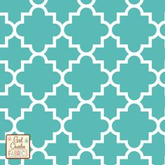 "Quatrefoil Tiffany Blue Cotton Jersey Blend Knit Fabric - A Girl Charlee Collection exclusive!  On trend quatrefoil design in our Tiffany Blue and white on our signature cotton jersey blend knit.  Fabric is very soft and has a nice stretch and drape, light to medium weight.  Largest quatrefoil measures just over 4"".  A versatile fabric that is great for many applications.  Made in Los Angeles!  ::  $6.60"