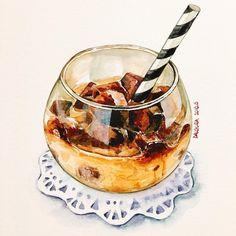 my favorite artist works / watercolor / Aquarell Food N, Food And Drink, Cute Food, Yummy Food, Dessert Illustration, Food Sketch, Food Painting, Coffee Painting, Watercolor Food