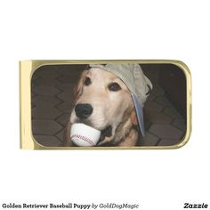 Golden Retriever Baseball Puppy Gold Finish Money Clip