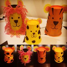 Lion, Tigers ... and spotty, stripy jaguars! Big Cat Cup Crafts  https://littlemulberryproject.wordpress.com/2016/11/11/big-cat-cups/
