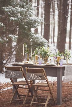 Rustic, wood bride and groom chairs   Brides.com