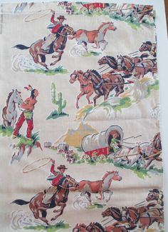 """Vintage Cowboys Indians Horses Western Fabric - Cotton - 84"""" long Prairie Novelty - 1950's or 60's"""