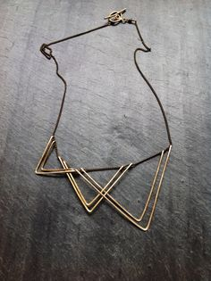 ~Geometric Hammered Sails Necklace - By Loop Jewelry~    Lightweight and easy to wear, offered in silver plate or non tarnish gold plate,