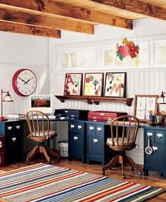 School Room. Beautiful. Love the colors  and work area. Love the small pails on desk that holds supplies, love that huge clock. Love it all.