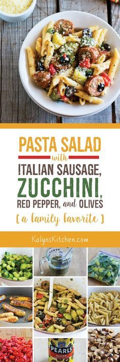 I don't make a lot of pasta, but this Pasta Salad with Italian Sausage, Zucchini, Red Pepper, and Olives is a huge favorite in my extended family, and I've been making it for parties for many years! Try it; I promise your family will love this pasta salad that's loaded with tasty ingredients. [found on KalynsKitchen.com