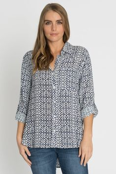 Velvet Heart tab sleeve printed button front tee at Marketplace on Broadway