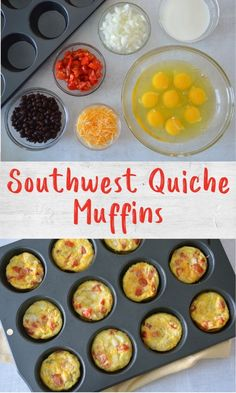 These Southwest quiche muffins are a great meal prep recipe packed full of protein and veggies. Make a batch for easy breakfasts all week, or these fun breakfast theme bento boxes! Grab And Go Breakfast, Breakfast Time, Best Breakfast, Non Sandwich Lunches, Quiche Muffins, Healthy School Lunches, Cereal Recipes, Healthy Breakfast Recipes, Kid Friendly Meals