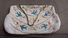 Estate Vintage MACY ASSOCIATES Embroidered Bird Beaded Applique Bag Purse Clutch | eBay