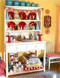 Cutest Little Christmas / Love this Christmas dresser! Merry Little Christmas, Blue Christmas, Retro Christmas, Country Christmas, All Things Christmas, Winter Christmas, Christmas Crafts, Christmas Decorations, Holiday Decor