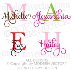 MONOGRAM Personalized Name Vinyl Wall Decals - Use sign vinyl and a cutter to create yours. Would make great apparel graphics too. Use your favorite heat transfer materials and a heat press. Cricut Monogram, Monogram Fonts, Cricut Vinyl, Free Monogram, Cricut Air, Cricut Fonts, Monogram Letters, Vinyl Art, Vinyl Crafts