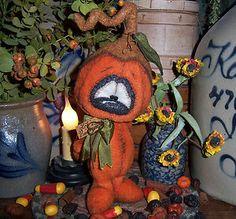 "Primitive Halloween Teddy Fuzzy Pumpkin Bear 8"" Doll ★ Vtg Patti's Ratties Ornie"