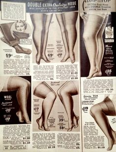 "1940s Stockings: Hosiery, Nylons, and Socks History. 1940s plus size Stockings were called ""outsize"" #190sfashion"