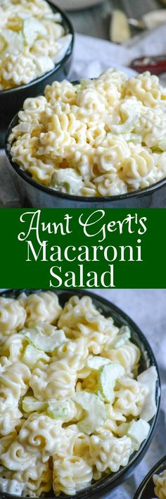 Rich and creamy, with a surprisingly sweet and yummy sauce–Aunt Gert's Sweet Macaroni Salad is the pasta   recipe you want to have on hand for Spring picnics and Summer barbecues.