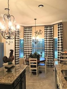 Kitchen Decorating Black and White Buffalo Check Curtains - 24 Width and 50 Width Options -Rod Pocket - Options For Cotton or Blackout Lining Farmhouse Kitchen Curtains, Kitchen Redo, Farmhouse Decor, Curtains In Kitchen, Dining Room Curtains, Farmhouse Curtain Rods, Modern Farmhouse, Farmhouse Style, Curtains Living