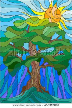 Illustration in stained glass style with tree on sky background. Illustration in stained glass style with tree on sky background and sun Glass Painting Designs, Glass Art Design, Faux Stained Glass, Stained Glass Patterns, Fused Glass, L'art Du Vitrail, Glass Art Pictures, Frida Art, Glas Art