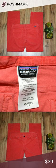 Patagonia Hot Coral Corduroy Pants Size 28 • GUC • wear on back side shown :) Patagonia Pants