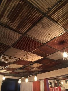 Metal Buildings Discover 10 pieces of Antique Drop Ceiling Tiles Reclaimed from Vintage Corrugated Metal Barn Tin Drop Ceiling Grid, Drop Ceiling Tiles, Dropped Ceiling, Ceiling Panels, Ceiling Tiles Painted, Ceiling Fan, Ceiling Windows, Barn Tin, Metal Barn