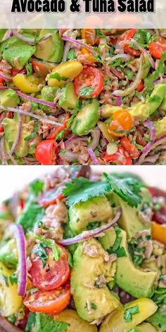 Very simple, flavorful, and tasty, this Avocado Tuna Salad requires just a few ingredients and 10 minutes of your time. Enjoy it for lunch or on the side with your favorite meal. Visit Cooktoria to get a printable recipe. recipe for dinner Seafood Recipes, Diet Recipes, Cooking Recipes, Healthy Recipes, Chicken Recipes, Vegetable Recipes, Easy Recipes, Canned Tuna Recipes, Vegetarian Recipes
