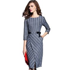 New WomenFashion Slim Sexy OL Stripe O-neck Long Sleeve Elegant Bodycon Dresses