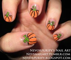 pumpkin nails for Halloween Love Nails, How To Do Nails, Fun Nails, Pretty Nails, Nail Art Halloween, Fete Halloween, Halloween Makeup, Nail Art Designs, Do It Yourself Nails