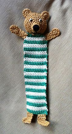 Teddy Bookmark - free crochet pattern by Kerstin Batz on Ravelry! Just make larger for a scarf Knitting For BeginnersKnitting HumorCrochet Hair StylesCrochet Amigurumi Crochet Bookmarks, Crochet Books, Crochet Home, Crochet Gifts, Cute Crochet, Knit Crochet, Knitting Patterns, Crochet Patterns, Crochet Bookmark Patterns Free