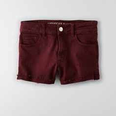 AEO Denim X Hi-Rise Shorts ($45) ❤ liked on Polyvore featuring shorts, summer burgundy, burgundy shorts, american eagle outfitters, fitted shorts, summer shorts and summer denim shorts