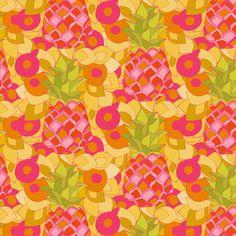 Amy Reber, artist NEW DESIGN, PINEAPPLE LOVE #textiledesign #textiles #fabric #pineapples