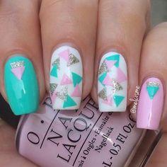 """Geometric nail design via IG""""er #melcisme #OPI #pink #white #geometric #teal #nailart #mani #polish #nails"""