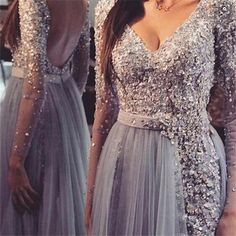 Charming Prom Dress,Appliques Prom Dress ,Backless Prom Dress,Long-Sleeves Prom Dress P759