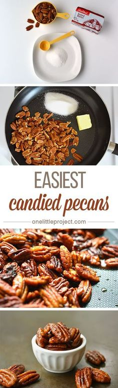 These candied pecans couldn't be any easier! Just three simple ingredients, … These candied pecans couldn't be any easier! Just three simple ingredients, one frying pan, and they are ready to eat in less than 10 minutes! Pecan Recipes, Snack Recipes, Dessert Recipes, Cooking Recipes, Snacks, Just Desserts, Delicious Desserts, Yummy Food, Holiday Baking