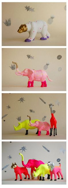 Love these! You can totally buy cheap plastic animals at a dollar store and paint for party decor! Then use them for room decor.