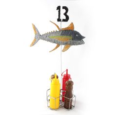 Perfect table number and condiment holder for your restaurant.